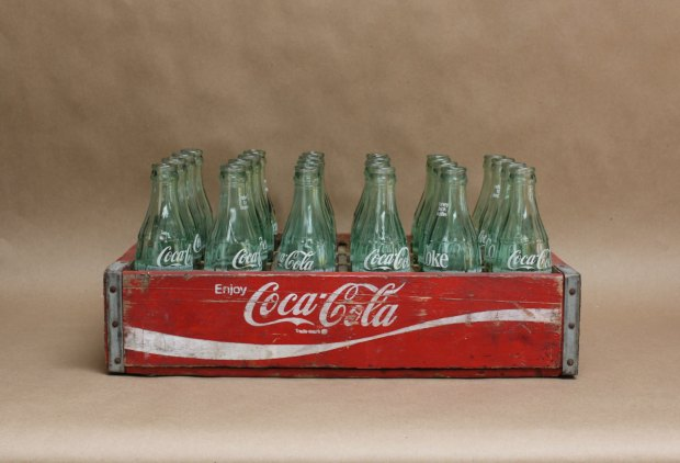 Coke soda crate with bottle